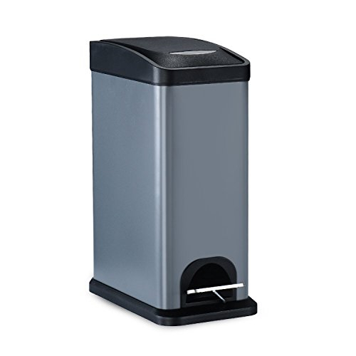 Rectangular Shape Step Trash Can,Carbon Steel Garbage Can with Lid and Plastic Inner Bucket For Bathroom 2.1Gal/8L