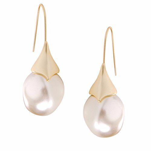 Gold Tone Wire Earrings - Humble Chic Teardrop Simulated Pearl Dangles - Oval-Shaped Hanging Bead Threader Drop Earrings, Gold-Tone, Cream