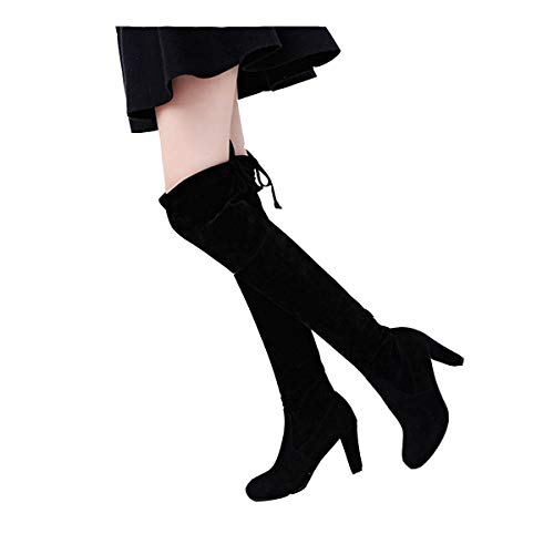 Diaper Women High Heel Rubber Outsole Lace Up Casual Solid Winter Long Boots Dresses Black (Best Winter Dress Boots)