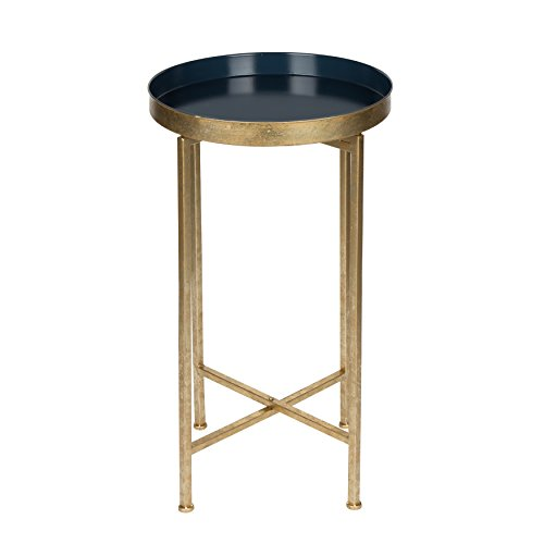 kate and laurel celia round metal foldable tray accent table navy blue and gold lavorist. Black Bedroom Furniture Sets. Home Design Ideas