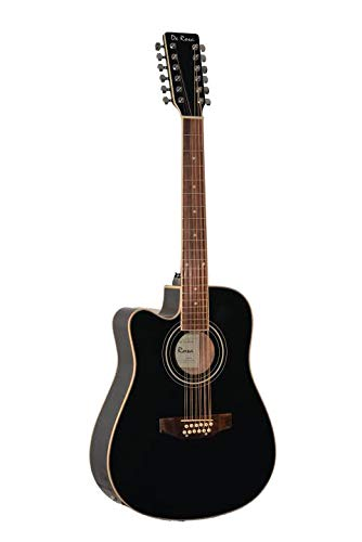 12 String Acoustic-Electric Guitar Black Left Handed - Left Handed 12 String