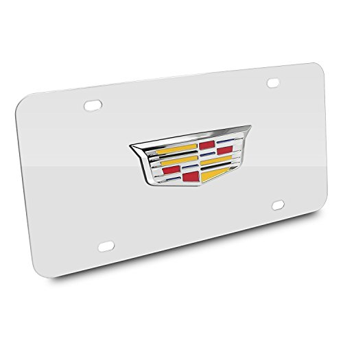 (iPick Image Cadillac Crest New 3D Logo Chrome Stainless Steel License Plate, Made in USA)