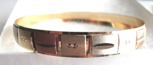 Wide Bangles Engraved 14K Gold Overlay Bangle Bracelet Sz 6 three gold tones Teen Adult Big hand, A-Portia
