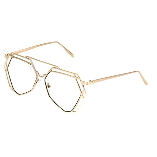 38865b3a60 Elite Modern Geometric Aviator Metal Frame Flat Top Clear Lens Hexagonal  Sunglasses