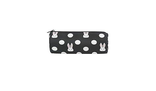 BIGJOKE - Estuche para lápices con diseño de conejo y lunares, bolsa con cremallera, organizador para brochas de maquillaje, para niñas y niños, para la escuela, estudiantes, artículos de papelería y oficina: