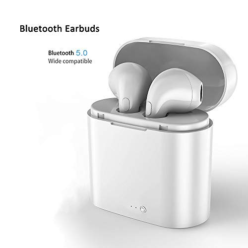 Wireless Bluetooth earbuds, mini waterproof headset hands-free calling headset sports driving headset with microphone and charging box for 5 hours of game time (white)