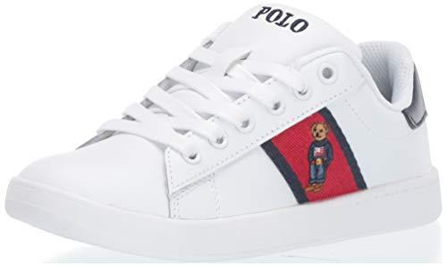 Polo Ralph Lauren Kids Boys' QUILTON Bear Sneaker, White Leather red/Navy Striping, 9.5 Medium US -