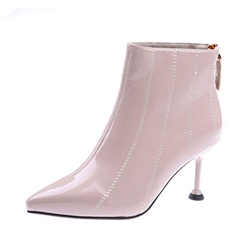 e4701535495 GTVERNH Women's shoes/7Cm High Heels Martin Boots Thin Heels Patent Leather  Pointy Boots Short Boots Wild Boots Boots Autumn Winter Ankle ...