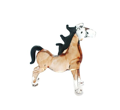 (Standing Brown Horse Animal Handcrafted MINIATURE HAND BLOWN GLASS FIGURINE Collection)