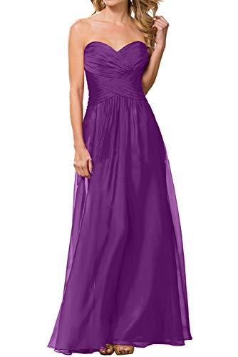 Herzausschnitt Brautjungfernkleider Neuheit Chiffon Marie La Braut Ballkleider Abendkleider Violett Bodenlang HYqtwv8n