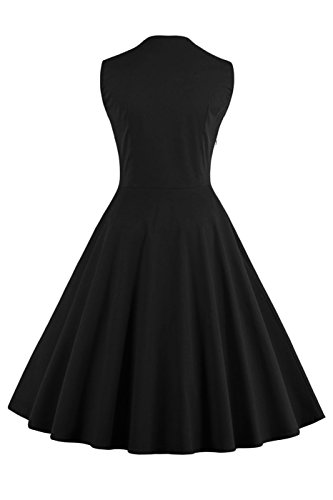 1950s Vintage flower VERNASSA Dots Rockabilly Polka Retro Audrey Dress Women's Black Cocktail Dress xHn5nTE