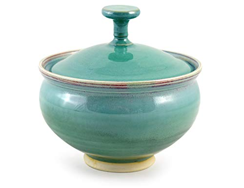 American Made Orchid Green Pottery Collection: Candy Bowl Dish with Lid