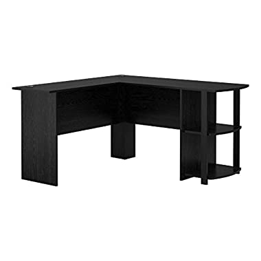 Altra Dakota L-Shaped Desk with Bookshelves, Black Ebony Ash