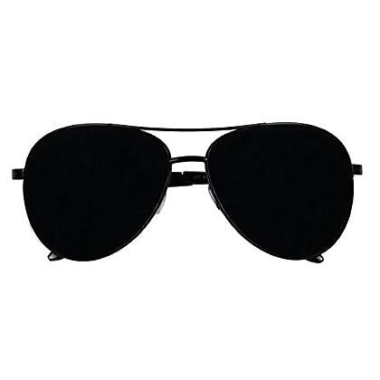 d97193436b Basik Eyewear - Oversized Wide Frame Pilot Metal Aviator Sunglasses w  Super  Dark Black Lens