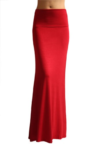 Long Go Red Skirt - Azules Women'S Rayon Span Maxi Skirt - Red XL