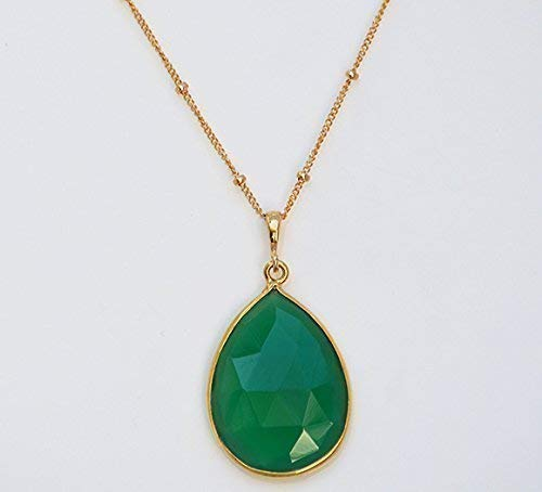 Large Green Onyx Necklace, May Birthstone Necklace, Pear shape Gemstone Pendant, 18x25mm Teardrop Gemstone Necklace