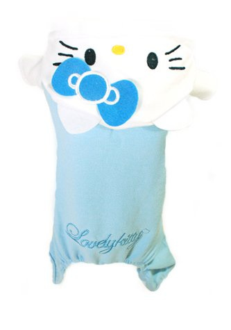 PET APPAREL: Hello Kitty Hoodie Sweater Sweatshirt One piece Clothing Shirt, Sky Blue & Pink, for PUPPY DOG CAT (Large, Blue) - Hello Kitty Dog Apparel