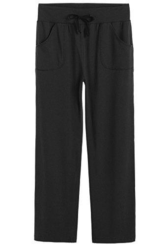 Latuza Women's Cotton Lounge Pants, Black, Medium