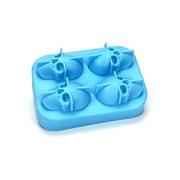 Ice Hockey Mould,4 Sizzling ice Tray Round Silicone ice Mold Ice Maker Kitchen Utensils Silicone Mold Creative ice Tray Refrigerated and Frozen Fresh Storage Box (Color : Blue)