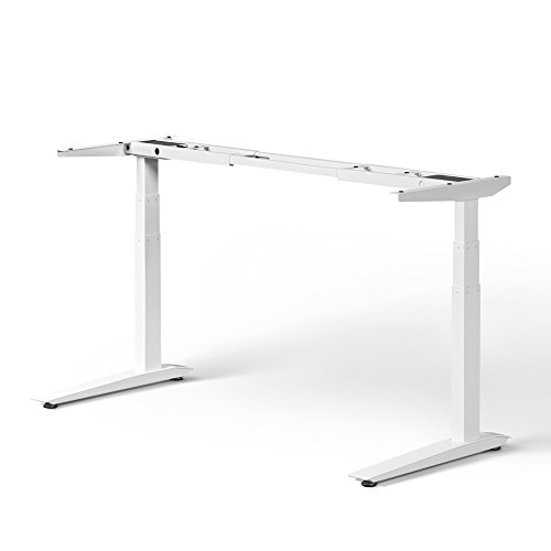 Jarvis Standing Desk Frame Only - Electric Adjustable Height Sit Stand Desk - 3-Stage Extended Range Frame with Memory Preset Handset Controller - Desk Top Not Included (White, Extended - Inch Beech Desk 36