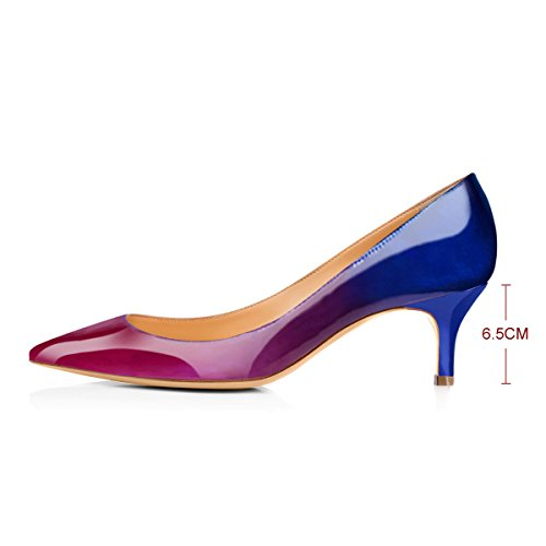 onlymaker Womens Classic Pointed Toe Mid Heel Large Size Dress Party Pumps Shoes Blue to Purple KfuhEbEe