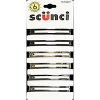 Scunci Effortless Beauty - Open Center Metal Barrettes, Assorted Colors (6 Count)