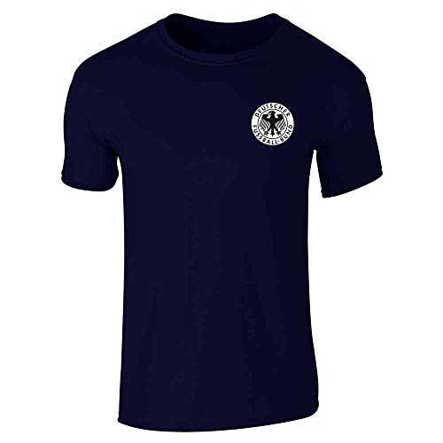 Germany Soccer Futbol Retro Vintage National Team Navy Blue L Short Sleeve T-Shirt ()