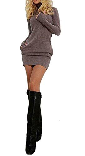 Jaycargogo Womens Manches Longues Sexy Moulante Courte Robe Sweat-shirt Robe Avec Poche 1