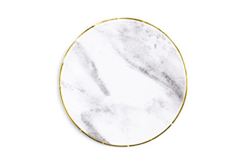 Sugar & Cloth 8.5 Inch Round Paper Plate, Marble design with Gold Edge, 16 Count