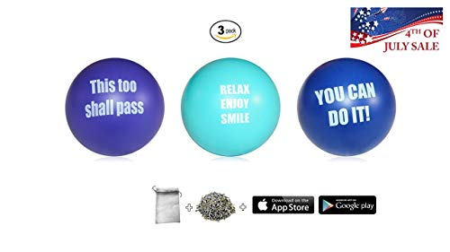 Motivational Stress Ball Assortment Stress Relief Toys for Kids and Adults | Free French Organic Lavender Buds & Happiness Tracker app | Squishy Fidget Gift Toy Balls]()