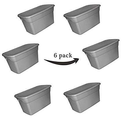 Storage Tote Box with Lid & Handles Plastic Bin Containers Case of 6, 30 Gallon Capacity, for Closet Desk Shelves Clothes Books, Air Tight, Steel/Gray