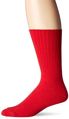 Chaps Men's Ribbed Solid Crew Socks, red Shoe Size: 6-12