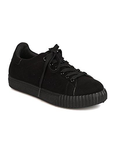 Qupid Ga21 Kvinnor Faux Mocka Rund Tå Snörning Sneaker Svart
