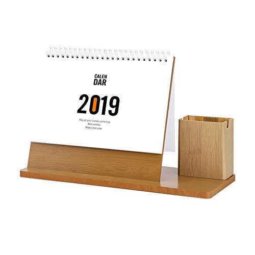 2019 Calendarios Creative Office Desktop Planee Este Estilo Pequeño, Fresco, Simple Cuaderno de Madera, calendarios...
