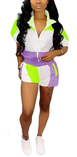 Women's Casual Patchwork Two Pieces Jog Sportwear Set - Short Sleeve Zip Up Windbreaker Crop Jacket Top + Short Pants