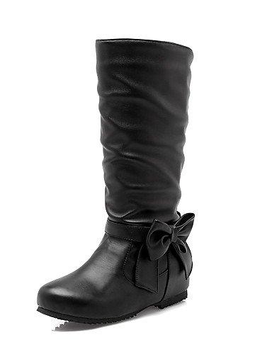 XZZ/ Damen-Stiefel-Büro / Kleid / Lässig-Kunstleder-Niedriger Absatz-Rundeschuh / Modische Stiefel-Schwarz / Gelb / Beige black-us6.5-7 / eu37 / uk4.5-5 / cn37