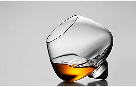 Mjkl 2 piezas de vaso de vidrio de whisky con parte superior giratoria, vaso de whisky, cóctel, copa de brandy