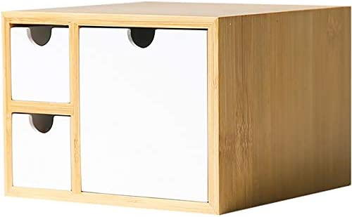 Chyuanhua Desktop Organizer Regal Organizer for Schreibtisch Mit Schubladen Ideal for Vanity Tabletop In Haus Oder Büro Geeignet für Heimbürobedarf (Color : Natural, Size : 18X18X13.2cm)
