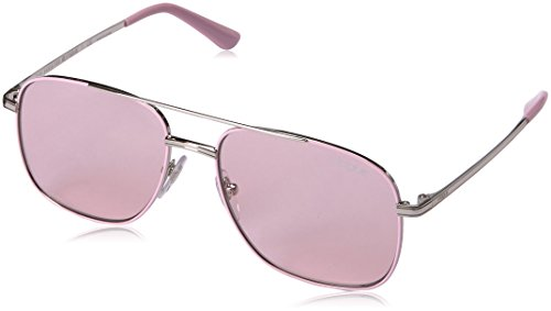 VOGUE Women's Metal Woman Rectangular Sunglasses, Silver/Pink, 55 - Sunglasses Vogue
