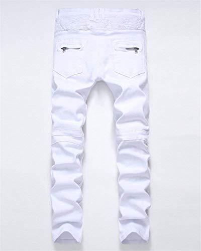 Jeans Stretch Classiche Motociclista Ragazzi Uomo Fit Slim Strappati Da Pantaloni Bianca Vintage Casual HqawxrH4