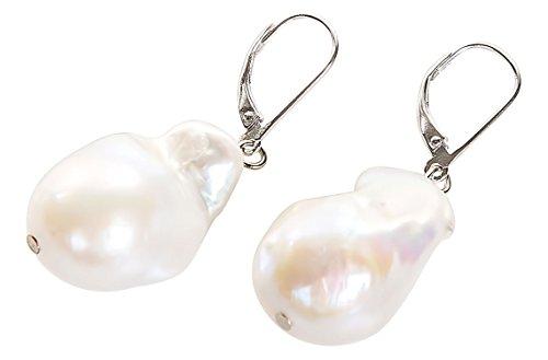 Freshwater Baroque Pearl Drop Earrings in Sterling Silver Leverback 15X25mm ()