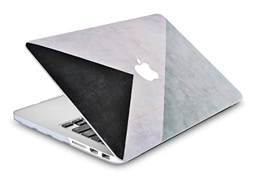 "LuvCase 2 in 1 Laptop Case for MacBook Pro 15"" Retina Display (2015/2014/2013/2012) A1398 (NO CD Drive) Rubberized Plastic Hard Shell Cover & Keyboard Cover (Black White Grey)"