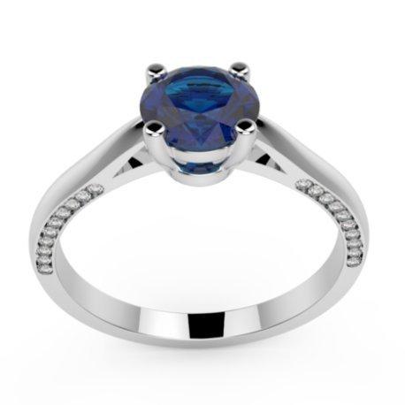 AURORE Bagues Or Blanc 18 carats Saphir Bleu 0,6 Rond