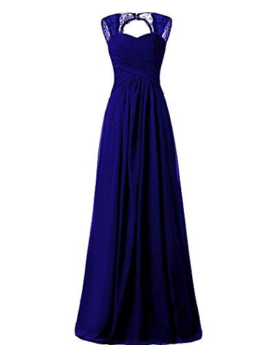 Brautjungfernkleider Lang Ballkleid Beonddress Abendkleider Chiffon Damen Königsblau Hochzeitskleid Cocktail Party SwqH7nFan