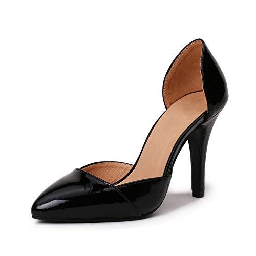 Du Femmes Pointé Mode Creux Talon Chaussures Haut Bureau Haut De Talon Hauteur PU 8Cm Simples Chaussures Pompes Antidérapant La Slim Talon Black Urw0rq