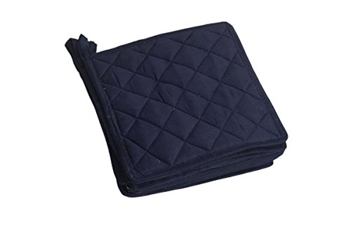 HM Covers Pot Holders 100% Cotton (Pack Of 10) Pot Holder 7'' x 7'' Square, Solid Navy Blue Color Everyday Quality Kitchen Cooking, Heat Resistance!! by HM Covers