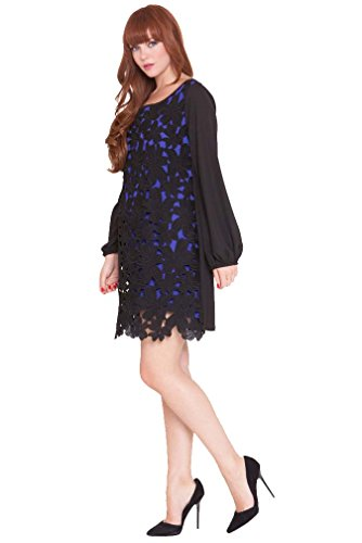 Olian Eloise Lace Overlay Maternity Cocktail Dress - Black - Large