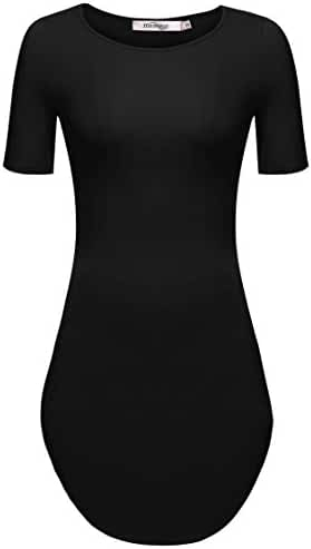 Meaneor Women's Sexy Short Sleeve Side Slit Party Beach Mini Dress Long Tshirts