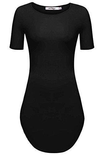 Meaneor Women's Hot Sexy Short Sleeve Side Slit Shirt Party Mini Dress Black S (Teen Sexy Dress)