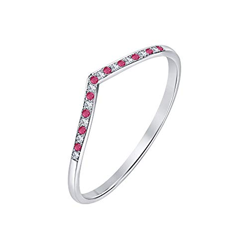 (RUDRAFASHION 0.35ctw Ruby & White CZ Diamond 14K White Gold Over .925 Sterling Silver V Chevron Curved Half Eternity Wedding Band Ring for Womens)